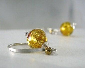 Gold Earrings, Silver Gold Earrings, Sterling Silver, Venetian Murano Glass, Venetian Glass Earrings, Gold Silver Earrings - Dawn