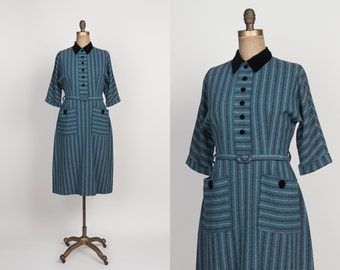 1950s Dress - Vintage Early 50s Striped Wool Day Dress with Velvet Collar & Buttons - Muted Teal - M / L