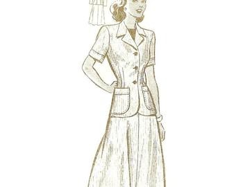 1940s Suit Jacket and Skirt Pattern Anne Adams 4781 sz 16 B34