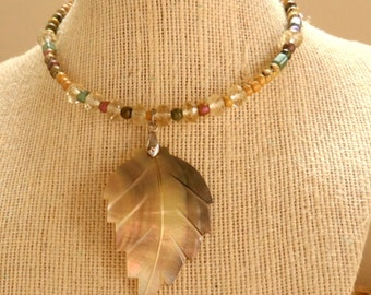 New! - choker, beaded, modern, wrap style citrine choker necklace