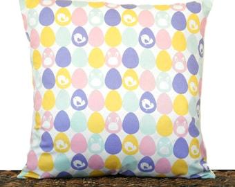 Easter Pillow Cover Cushion Eggs Bunnies Chicks Pink Purple Yellow Seafoam Green White Decorative 16x16