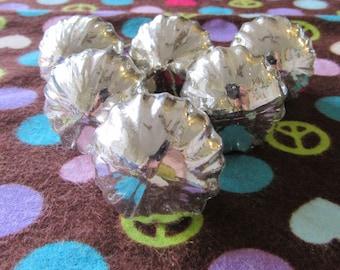Set of Six Mercury Style Scalloped Glass Knobs