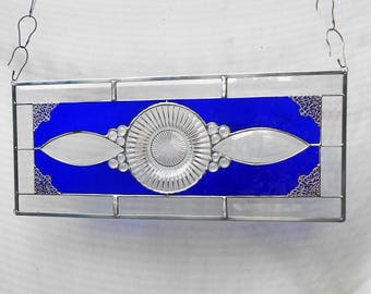 Stained Glass Transom Window, Vintage Depression Glass Stained Glass Plate Panel, Fortune Antique Stained Glass Window Panel, Cobalt Valance