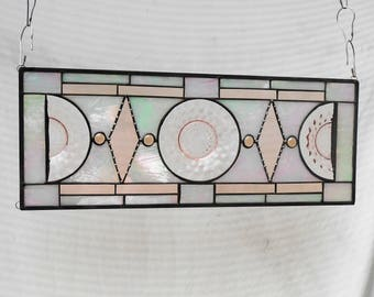 1930s Jeannette Cubist Pink Depression Glass Plate Panel, Vintage Stained Glass Transom Window, Antique Window Valance, Stained Glass Panel