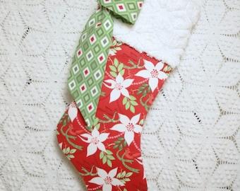 Poinsettia Stocking | Red Christmas Stocking | Bird Stocking | Modern Stocking | Red Stocking