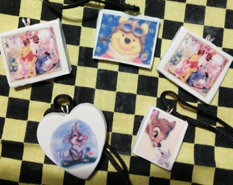 Lot of Handmade Polymer Clay Pendant Winnie the Pooh Bambi
