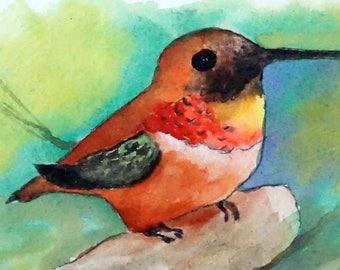 Hummingbird #5 - Original Hand Painted Greeting Card