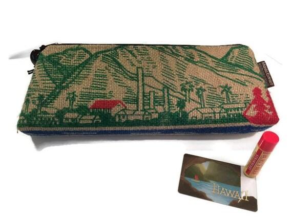 Maui Burlap Clutch. Pineapple Print Liner in Blue. Repurposed Mauigrown Coffee Bag. Handmade in Hawaii.