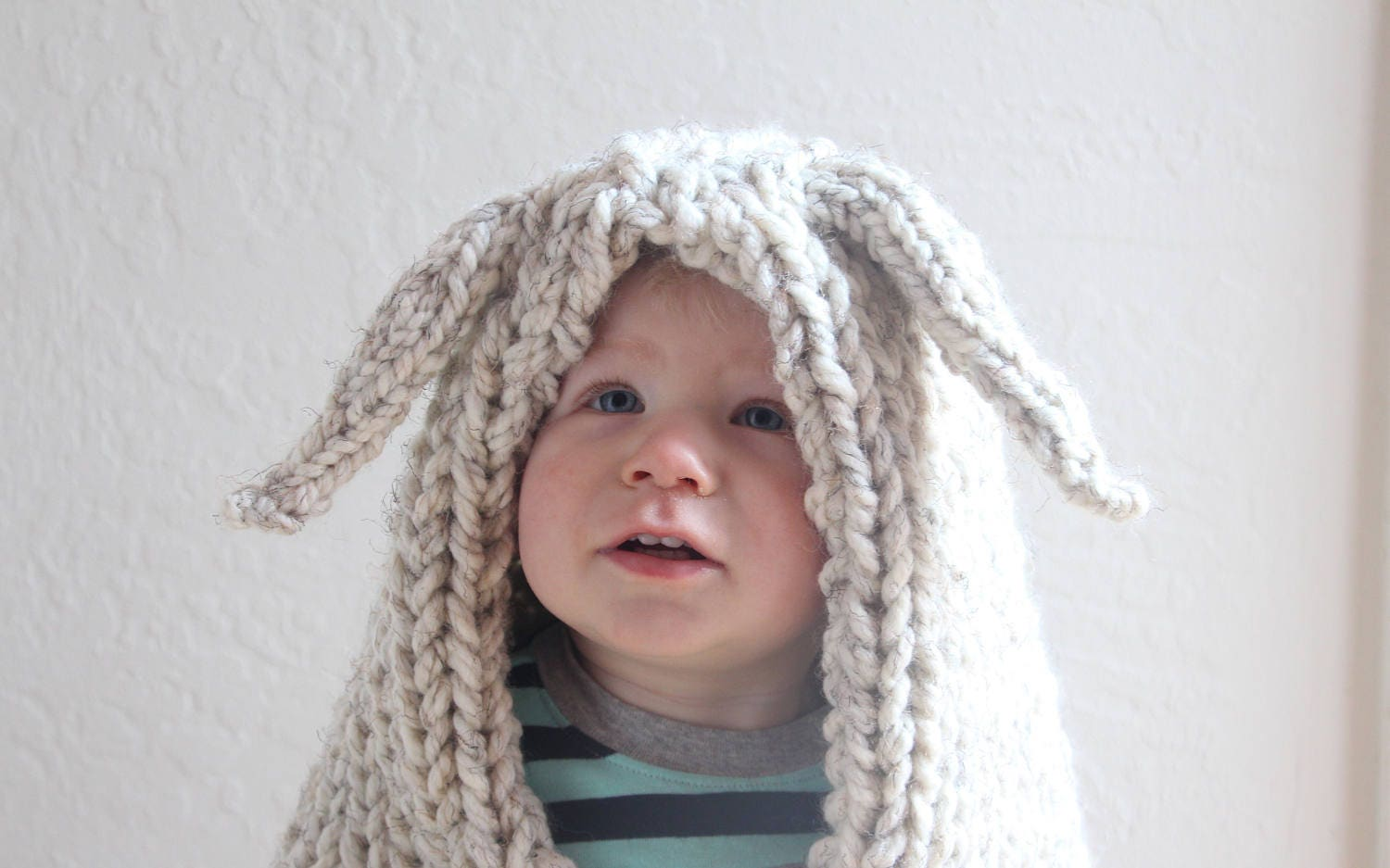 Knit bunny hood for kids or adults