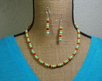 Festive Green Agate, Red Coral, Yellow Rondelles,925 Silver Necklace and Earrings