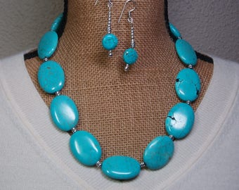 Massive Natural Blue Turquoise Gemstones,.925 Silver Necklace and Earrings