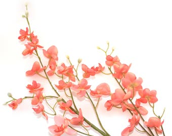 Peach Mini Phalaenopsis Orchid Branch - silk flowers- artificial flowers