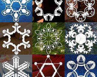 10 Paper Snowflake Pattern PDFS -  DIGITAL DOWNLOAD - Paper Craft - Paper Snowflake Templates - Snowman Snowflake - Reindeer Snowflake