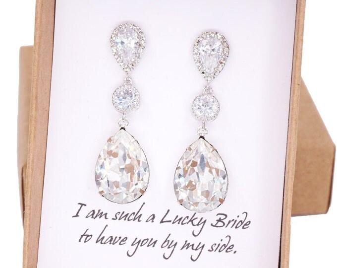 Paulette - Silver Swarovski Teardrop Crystal Earrings, Bridesmaid earrings, Bridal Wedding Jewelry, Swarovski Crystal Drops, white weddings