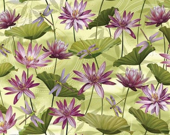 Kanvas By Benartex - Dance of the Dragonfly - Grass Green Waterlily Pool W/Metallic - Fabric by the yard 8499MB-44