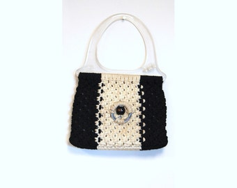 Macrame purse, black white, 1970s purse, lucite handle, Accento Craft USA, boho purse, handmade purse