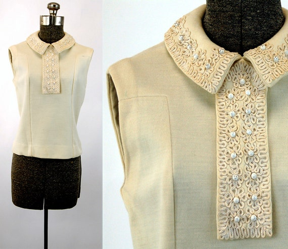 1960s wool top with collar soutache trim enamel beads ivory cream Size M