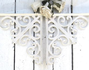 White Shelf Corner Brackets, French Country Decor, Paris Apartment, Cottage Chic, Ornate Wall Brackets, Weathered Architectural Detail