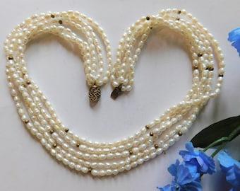 Vintage 5 Strand Genuine 18 inches Potato Pearl Necklace Choker Gold Fill