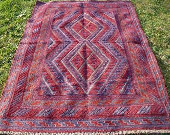 """Hand woven Ghazi Mishwani Rug/Kilim  Carpet  5 ft 10"""" x 4ft 6""""  178 x 137 cm Tapis"""