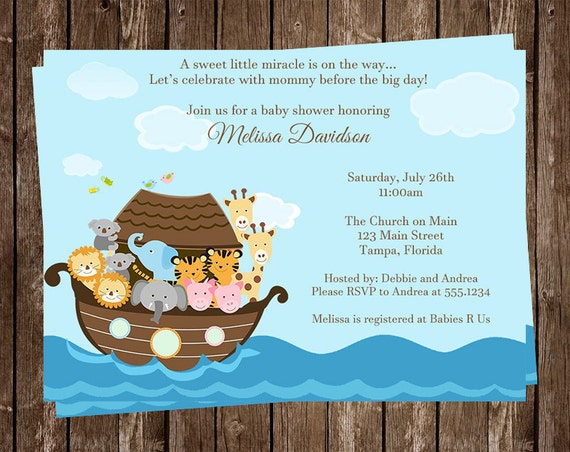 noah s ark baby shower invitation miracle religious gender