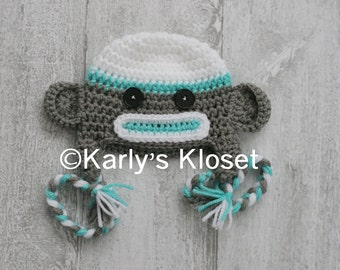 Sock Monkey Hat, Turquoise Monkey Hat, Baby Girl Hat, Earflap Hat, Newborn Hat Prop, Baby Girl Props, Sock Monkey Beanie, ready to ship