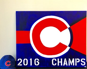 Chicago Cubs Painting // World Series 2016 // MLB Champions // Red, Blue and White Decor // Sporting Decor // One of a Kind Art for Cubs Fan
