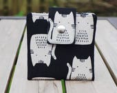 Japanese Cat Wallet, Black & Grey Cat Wallet, Mothers Day from Son, Mothers Day Gift, Womens Wallet Small, Vegan Wallet Small, Vegan Clutch