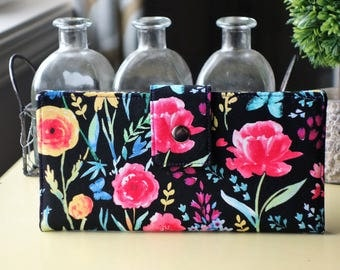 Handmade womens wallet vegan clutch floral