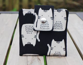 Handmade wallet small bifold gray cat on black japanese