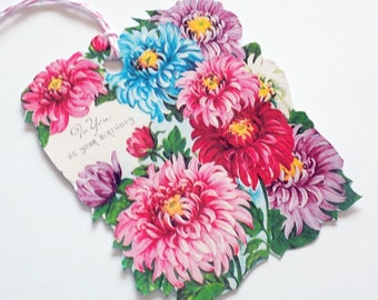 Birthday Flowers Tag - Set of 3 - Floral Birthday - Birthday Tags - Vintage Flowers - Pink Blue Red -  Chrysanthemum Tags - Gift Tags