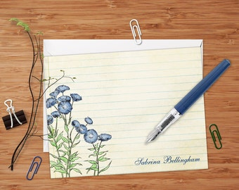 Blue Cornflowers - Set of 8 CUSTOM Personalized Flat Note Cards/ Stationery