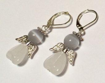 White Opal Angel Fairy Earrings - Czech Glass Love Heart Beads Silver Plated Wings