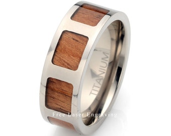Titanium Wedding Ring Hawaiian RoseWood, Mens Ring, Titanium Ring, Mens Wedding Band, Wooden Ting, Mens Titanium Wedding Band,