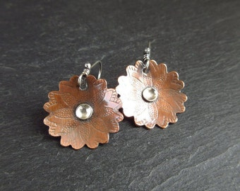 Copper flower earrings with sterling silver disc, antique copper jewelry, copper wedding anniversary gift, 7th anniversary gift, mixed metal