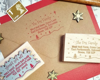 Personalised Christmas Snowy Scene Address Rubber Stamp  - Personalized Stamp - New Home Stamper - Supplies - Contact Details - Snail Mail