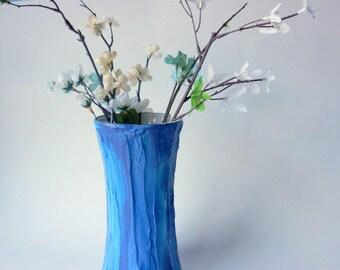 Marbled blue concave Vase / blue home decor / blue Vase / Flower vase / medium vase / Plaster and Glass