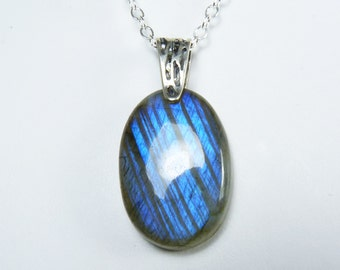 Labradorite Necklace, Labradorite Pendant, Glowing Cobalt Blue and Royal Blue Flash, Sterling Silver Bail and Chain