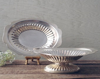 Pedestal Silver Bon Bon Bowl and Under Plate - Silverplate Canterbury Candy Dish