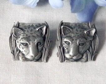 Signed JJ Pewter Lion Pierced Earrings 1986 Vintage Figural Lion's Head Jewelry