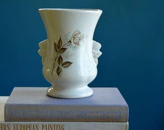 Vintage White McCoy Vase with Rose