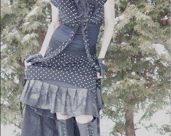 SALE - Skirt - Steampunk - Burning Man - Playa Wear - Knee Length - Denim Blue and Silver - Bohemian Gypsy - Victorian Gypsy - Size X- Small