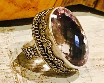 Bold Beautiful Faceted Purple Lavendar Amethyst Stone Ornate Sterling Silver Vintage Ring