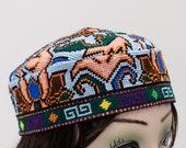 suzani hat, chain stitch hat, Asian embroidery