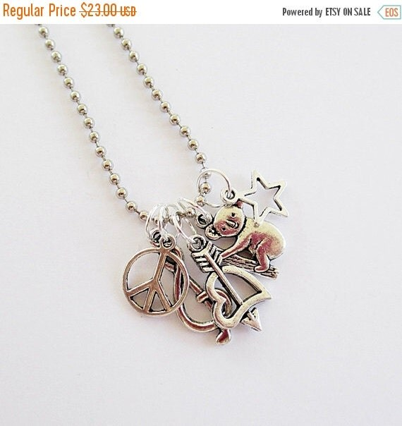 Clearance Sale Long Charm Necklace You Choose 5 Charms