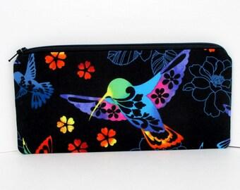 Hummingbird Zippered Pencil Pouch, Black Bird Zipper Bag
