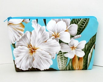 Hawaiian White Hibiscus, Make-up Bag, Turquoise Tropical Cosmetic Zipper Pouch