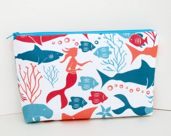 Make Up Zipper Pouch, Cosmetic Bag, Mermaids and Sharks Under the Sea