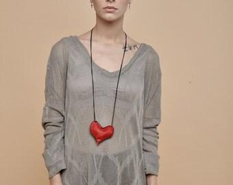 NEW! Net olive oversize shirt - long sleeves t-shirt - leaves pattern knitted shirt