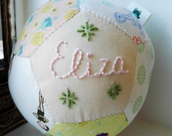 Personalised newborn baby gift, unique handsewn patchwork baby ball for baby girl, christening gift toy rattle
